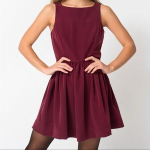 American Apparel Peach Skin Lola Burgundy Dress S